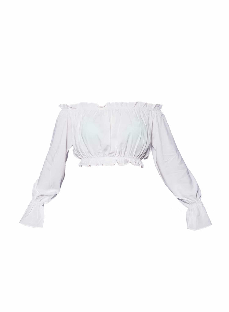 Cropped ombro a ombro off white