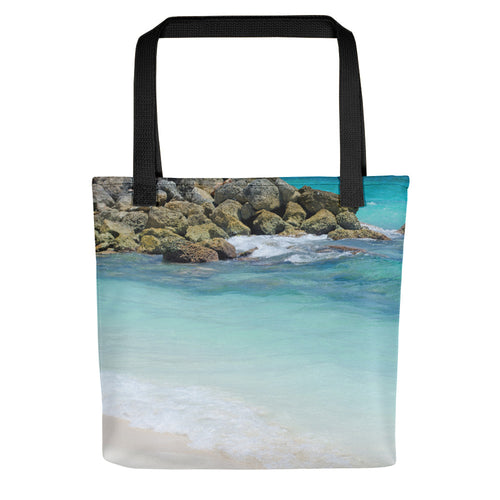 Palm Trees and Ocean Sand Tote Bag
