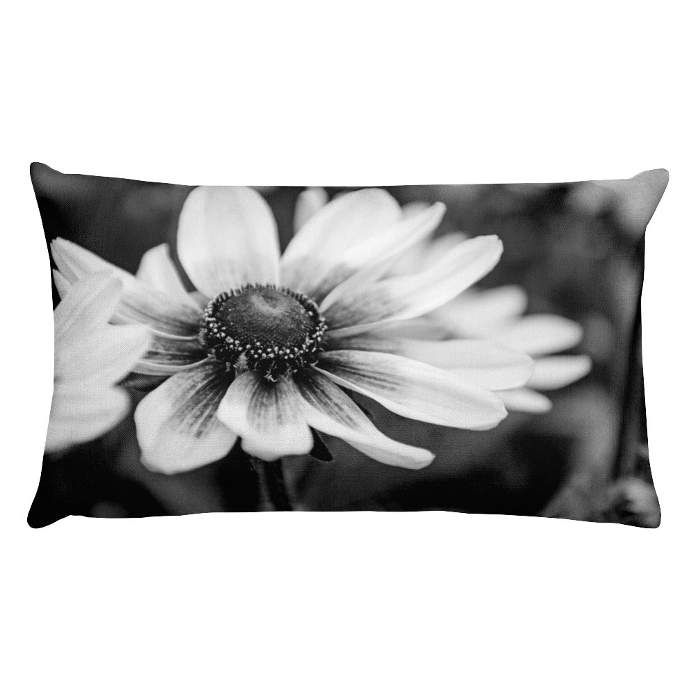 Black-Eyed Susan B&W Rectangular Pillow