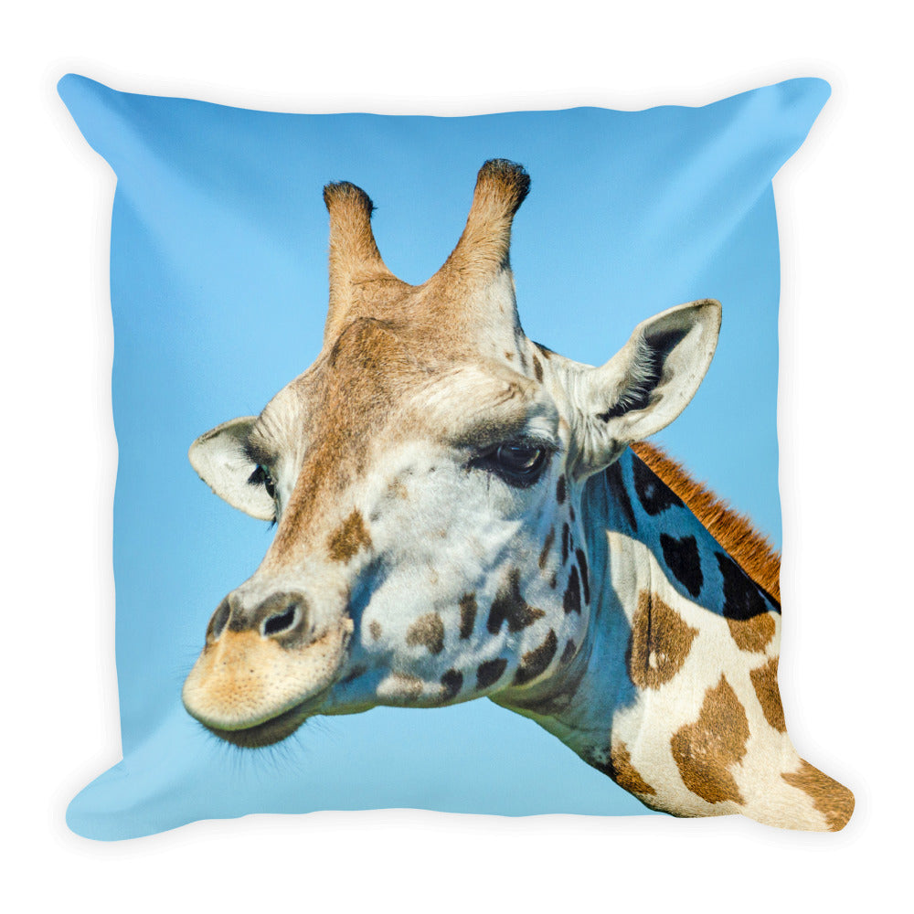 Giraffe Pillow Safari Animal Print 18 x 18 inch Square Pillow