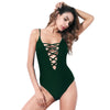 Cheeky Lacer - Lace-Up Deep Plunge One Piece with Cheeky Backside