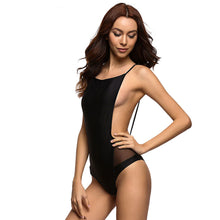 Black Tie Babe - Flat Front One Piece with Open Sides, Bare Back, and Mesh Hips