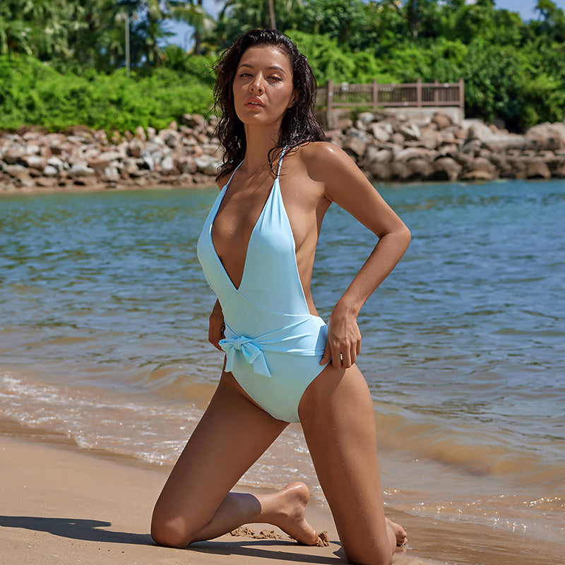 After Party - Backless Deep-V One-Piece with Bow