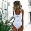 Xena - Full One Piece Swimsuit with Nautical Lace-Up Feature in Front