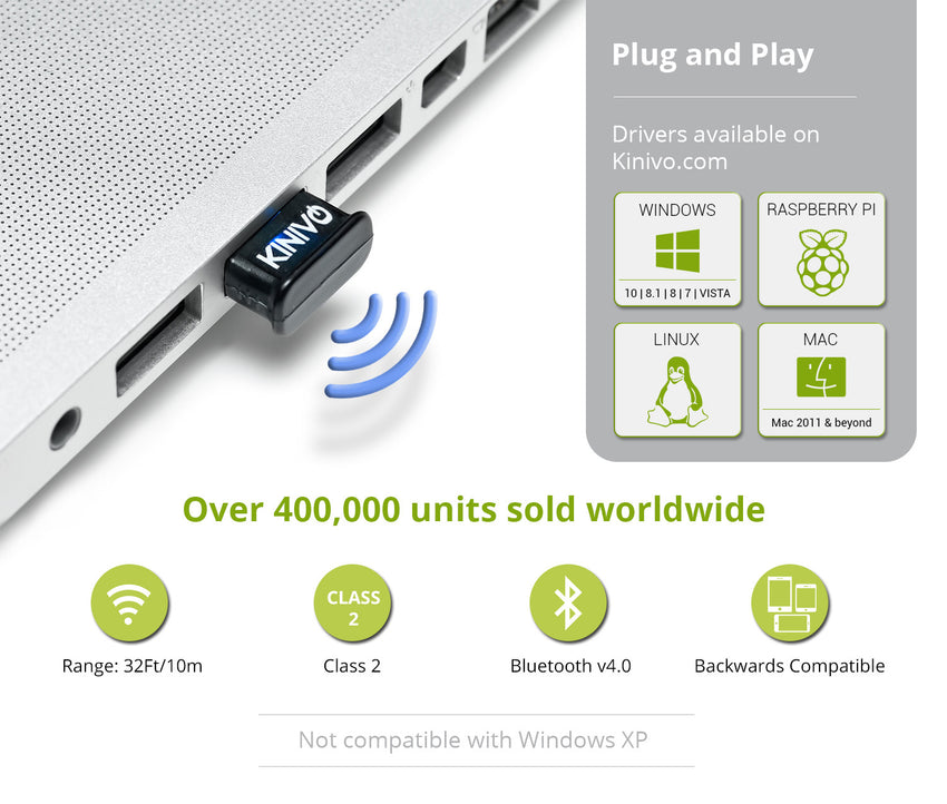 Kinivo BTD-400 Bluetooth 4.0 Low Energy USB Adapter - Works With Windows 10 / 8.1 / 8 / Windows 7 / Vista, Raspberry Pi , Linux