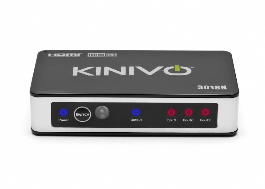 Kinivo HDMI Switch 301BN Premium 3 Port Wireless Remote & AC Power Adapter