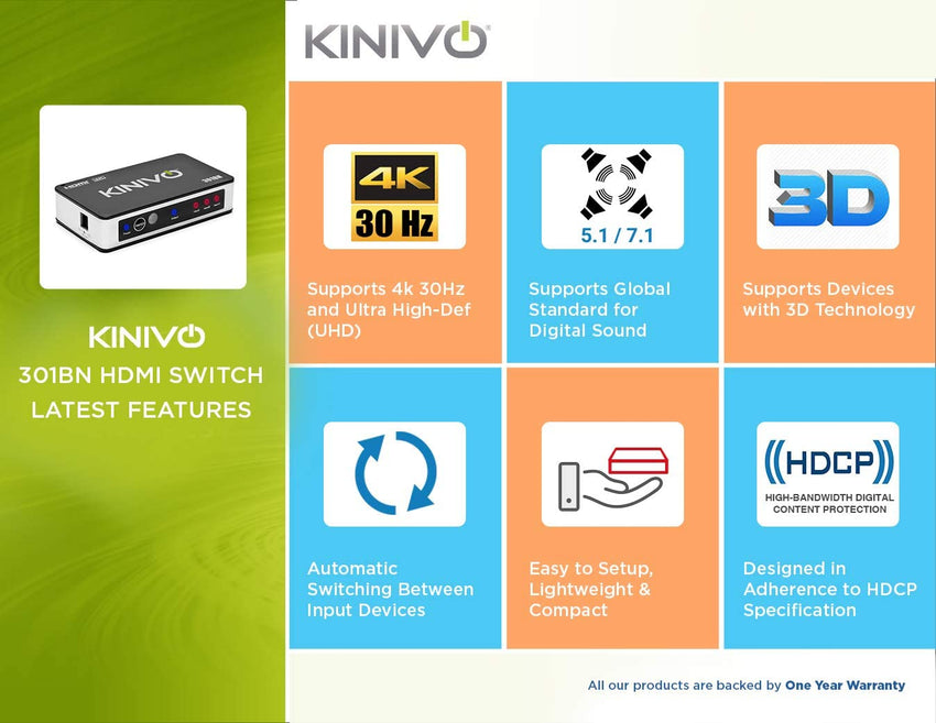 Kinivo High Speed 4K HDMI Switch with IR Wireless Remote and AC Power Adapter - Supports 4K @30Hz - Compatible with Xbox 360/One, PS4/PS3, Nintendo Switch, Blu-ray Player, Apple TV, Roku etc