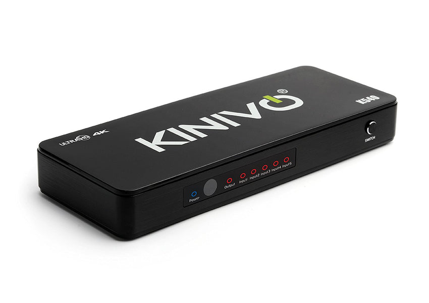 Kinivo K540 Premium 5-Port High Speed 4K HDMI Switch with IR Wireless Remote and AC Power Adapter - Supports Resolutions Up To 4K UltraHD & 3D