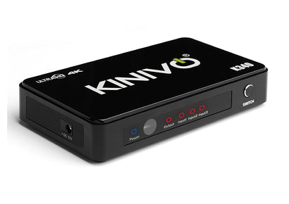 Kinivo K340 Premium 3-Port High Speed 4K HDMI Switch with IR Wireless Remote and AC Power Adapter - Supports Resolutions Up To 4K UltraHD & 3D