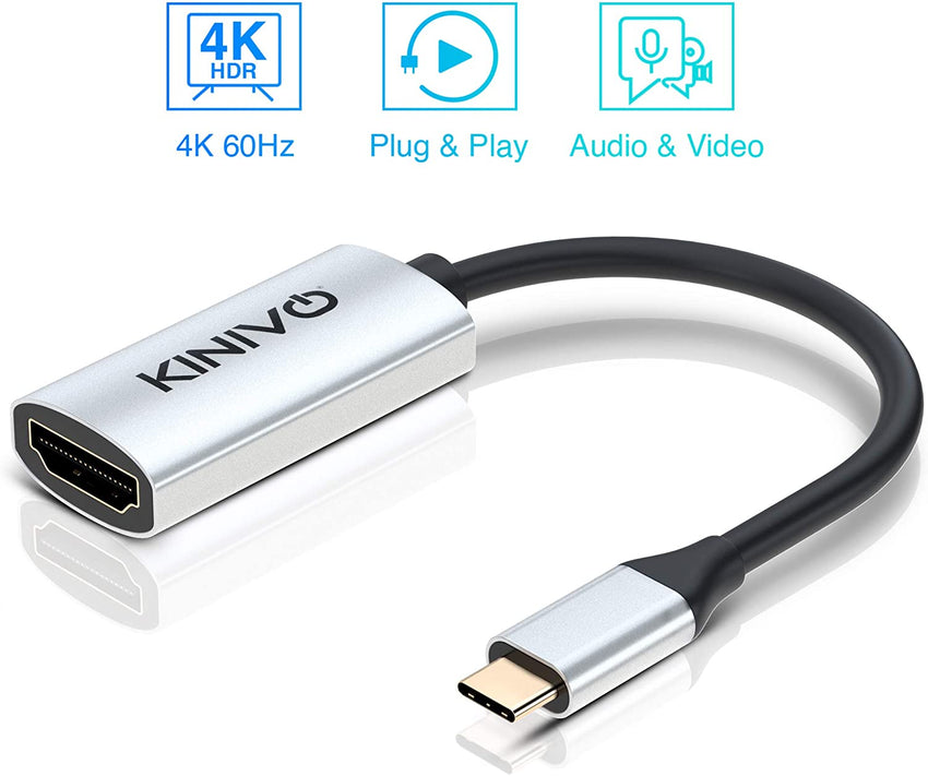 Kinivo USB C to HDMI Adapter (25CM ,4K 60Hz) - Compatible with Thunderbolt 3 Port, MacBook Pro 2018/2017, Samsung Galaxy S9/S8, Surface Book 2, Dell XPS 13/15, Pixelbook More