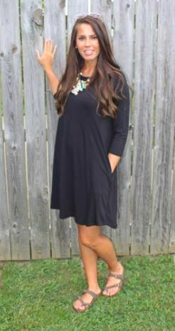 Love Begins Black 3/4 Sleeve Tunic Dress