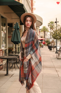 Warm Me Up Rust Plaid Ruana