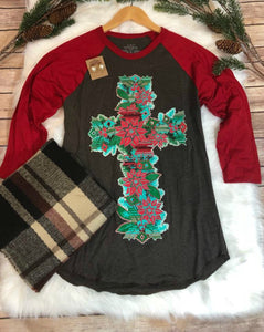 Christmas Cross Raglan Tee