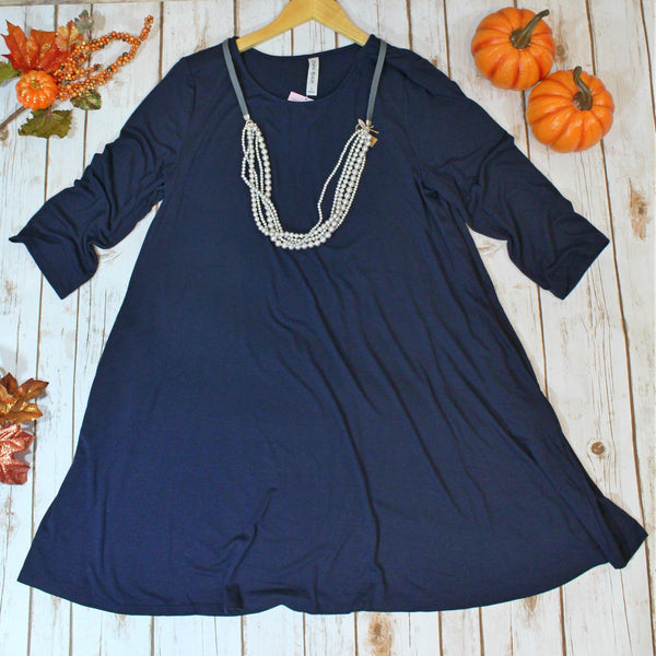 Love Begins Navy 3/4 Sleeve Tunic Dress