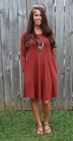 Love Begins Rust 3/4 Sleeve Tunic Dress