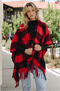 Buffalo Checkers Tassel Poncho