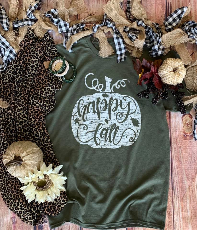 Happy Fall Olive Tee