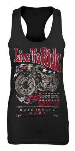 Live To Ride Black Racer Back Tank Top