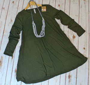Simple Style Army Green Long Sleeve Tunic Dress