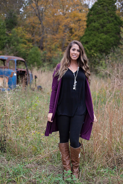 Back In Time Plum Cardigan