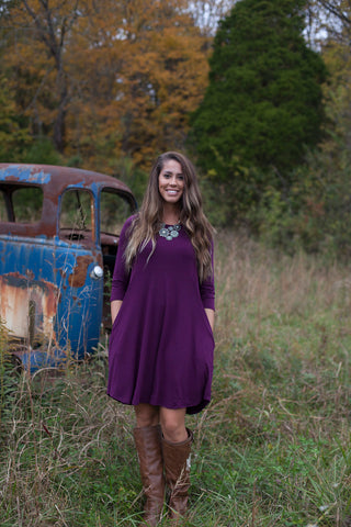 Love Begins Plum 3/4 Sleeve Tunic Dress