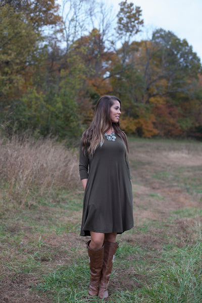 Love Begins Olive 3/4 Sleeve Tunic Dress