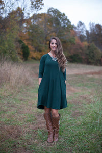 Love Begins Hunter Green 3/4 Sleeve Tunic Dress