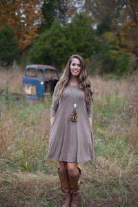 Love Begins Mocha 3/4 Sleeve Tunic Dress