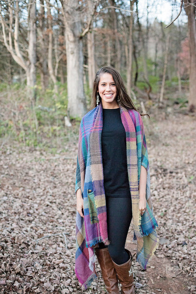 Warm Me Up Fuchsia Plaid Ruana