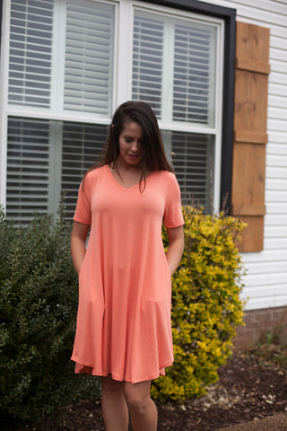Tried & True Deep Coral Vneck Tunic Dress