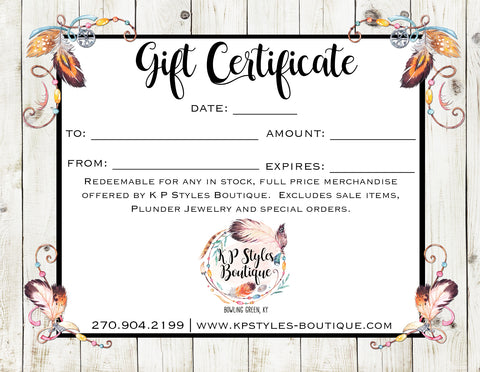 K P Styles Gift Card
