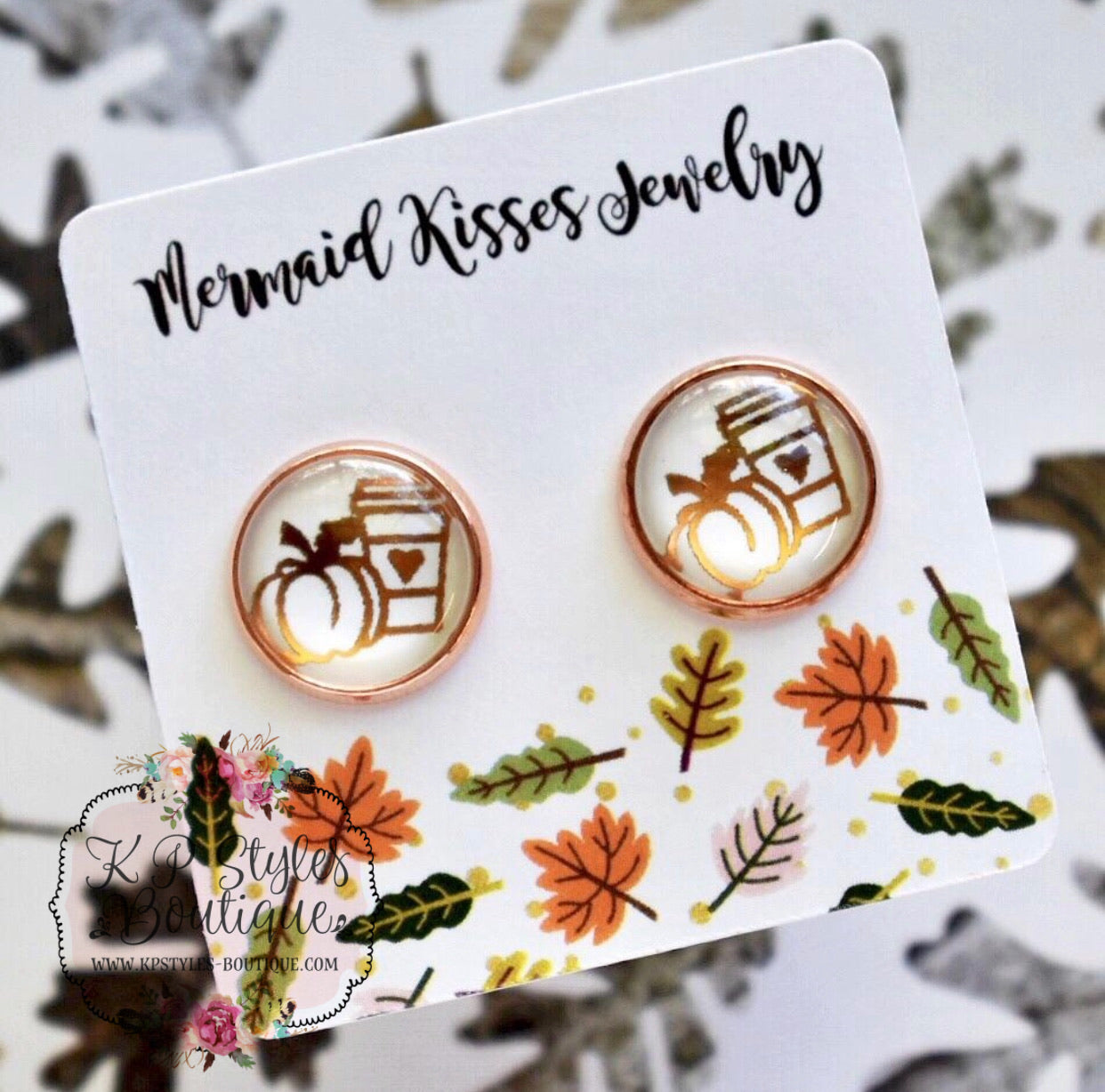Pumpkin Spice Foil Stud Earrings