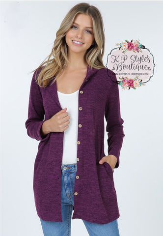 Bonfire Kinda Night Eggplant Hooded Cardigan