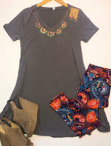 Tried & True Light Grey Vneck Tunic Dress