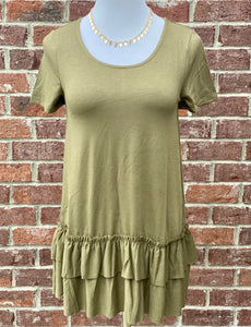 Turn To You Olive Ruffle Tee