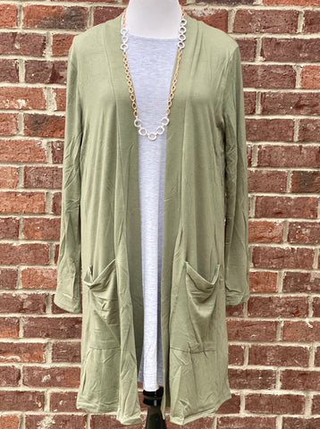 Light Olive Slouchy Pocket Cardigan {Plus Size}