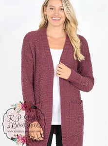 Crushin' on Ya Eggplant Popcorn Cardigan