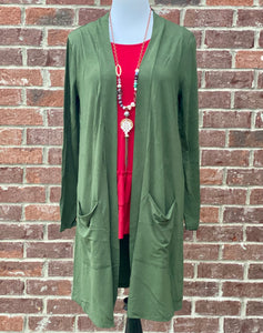 Army Green Slouchy Pocket Cardigan {Plus Size}