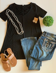 Spice Things Up Black Lattice Tee