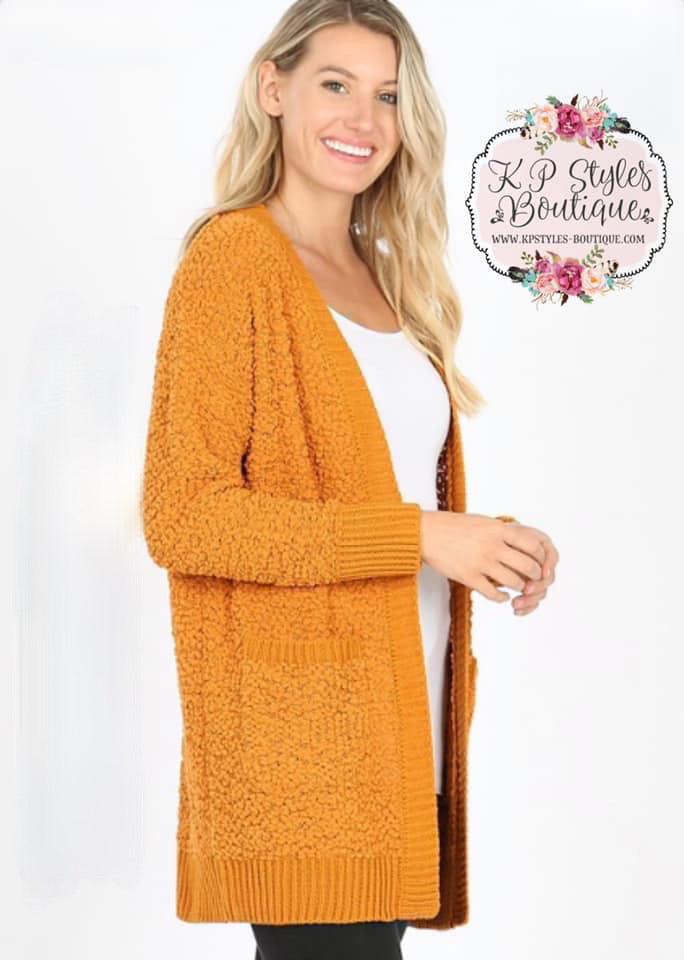 Crushin' on Ya Mustard Popcorn Cardigan