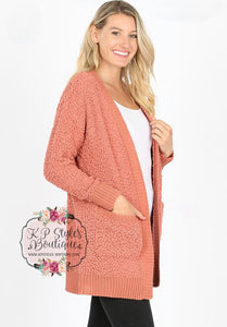Crushin' on Ya Ash Rose Popcorn Cardigan