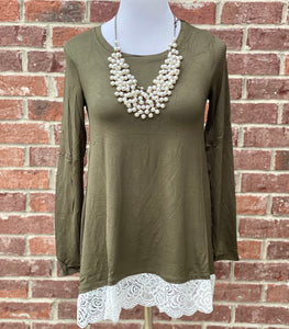 Swayed With Lace Dark Olive Long Sleeve Top