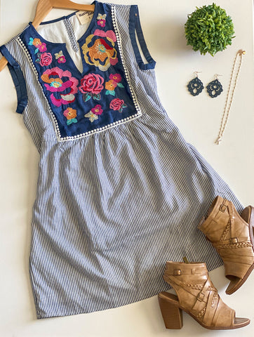 Friendly Floral Striped Embroidery Dress