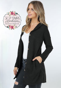 Bonfire Kinda Night Black Hooded Cardigan