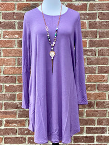 Simple Style Lilac Long Sleeve Tunic Dress {Plus Size}