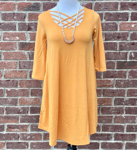 Old Tricks Ash Mustard Lattice Tunic with Pockets