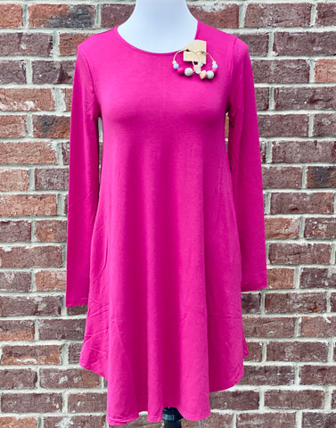Simple Style Magenta Long Sleeve Tunic Dress