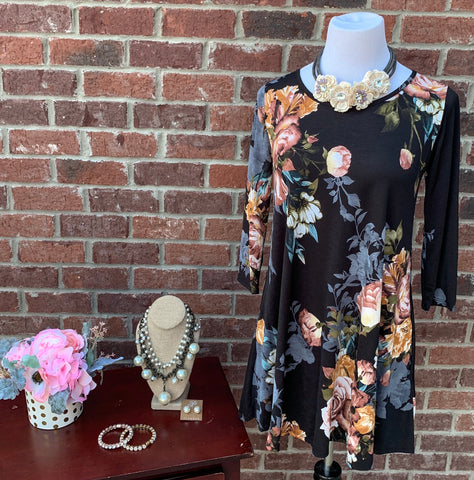 Blessed By You Black Floral Tunic Dress
