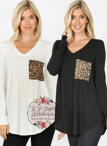 Touch of Leopard Black Long Sleeve Pocket Tunic