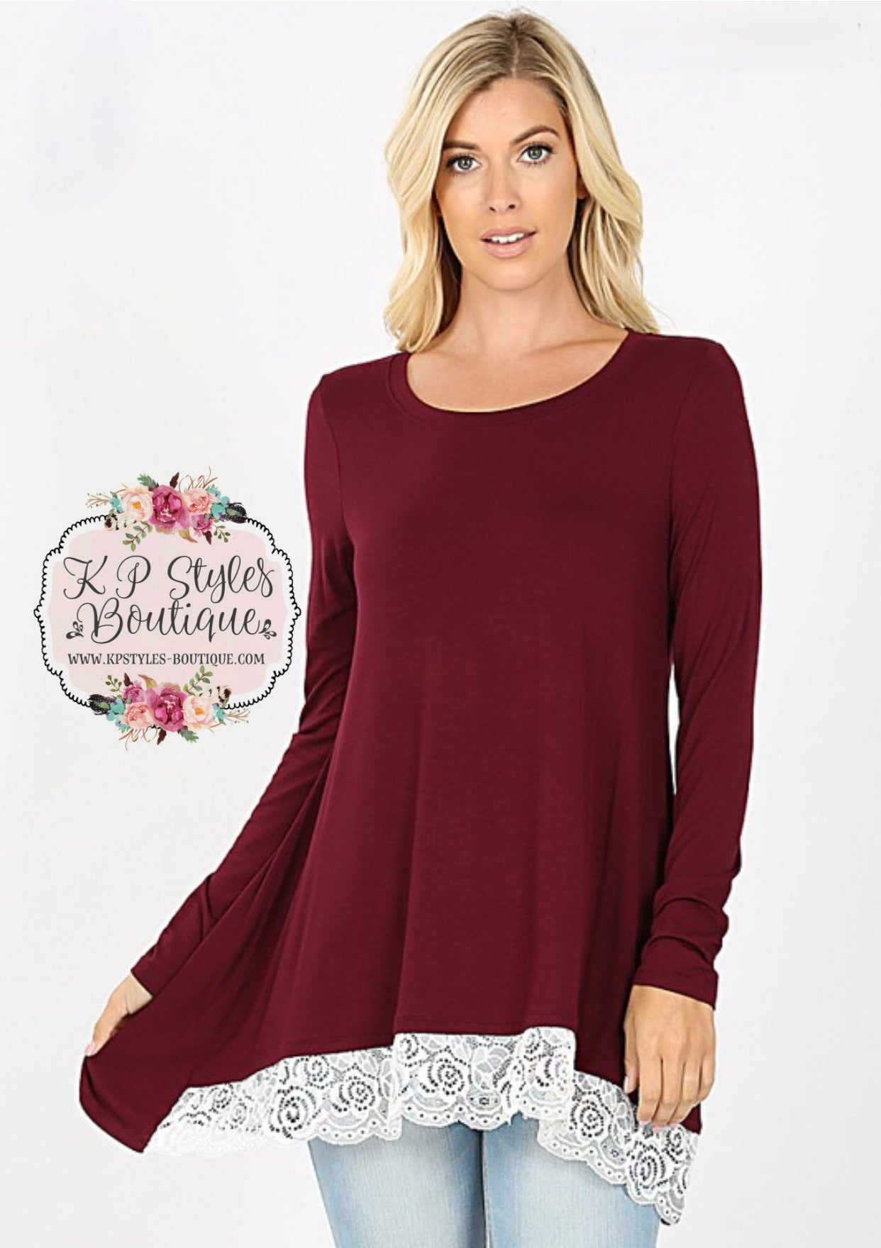 Swayed With Lace Burgundy Long Sleeve Top